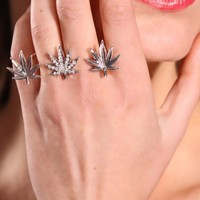 Silver Double Knuckle Three Leaf Decor Rhinestone Detail Stylish Ring @ Amiclubwear Ring Online Store,bridal rings,diamond ring,gold wedding band,bridal jewelry,jewellery rings,sterling silver ring,womens diamond ring,platinum wedding ring,diamond engagem