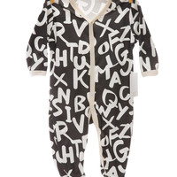 Organic alphabet white footsie coverall