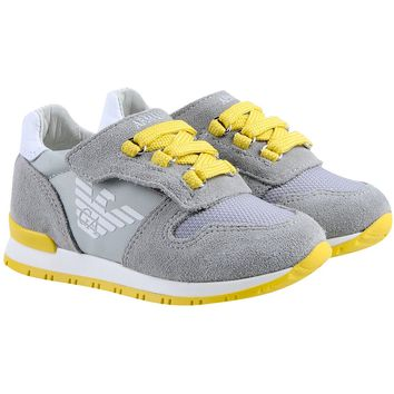 Baby Boys Grey/Yellow Sneakers