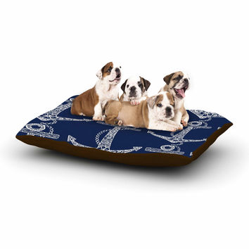 "Amy Reber ""Floral Anchors"" Blue Pattern Dog Bed"