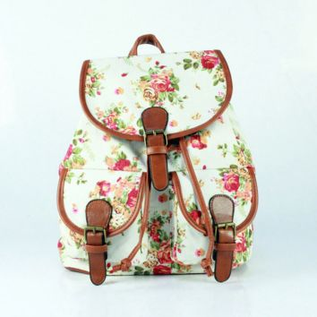 White Floral Cute Large College Backpacks for School Bag Canvas Daypack Travel Bag