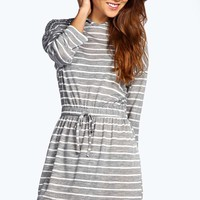 Louise Hooded Drawstring Striped Dress