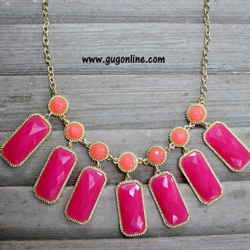 Orange and Gold Necklace with Hot Pink Dangles