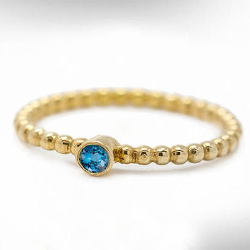 Gold Birthstone Ring, Gift Gemstones Ring, Blue-Topaz Ring, Stacking Ring, December Birthstone Ring, Delicate Ring Gift, Free Shipping
