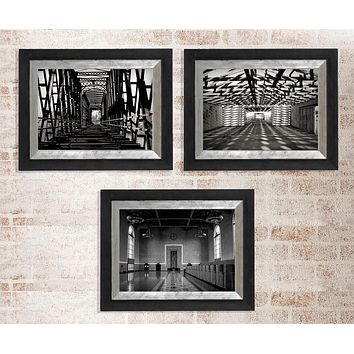 Geometric Black and White Architecture Wall Art Print Set of 3 - Many Sizes
