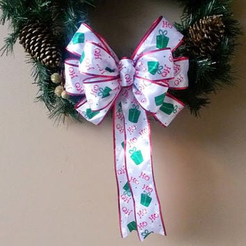 Santa Claus Christmas Wreath Bow-Red and White Christmas Bow- Wreath Bow- Ho Ho Ho- Tree Topper Bow-Mailbox Bow-Stair Door