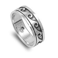 925 Sterling Silver Waves of Eternity Bali Tribal Ring 7MM