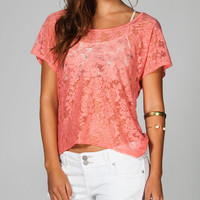 Full Tilt Essential Lace Front Womens Tee Coral  In Sizes