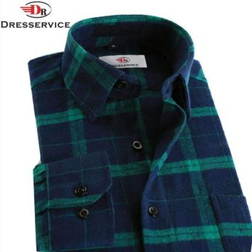 100% Cotton Men Plaid Long-Sleeved Casual Shirt / Flannel Slim Fit Shirt