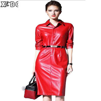 Red Faux Leather Dress Women 2017 Spring Leather Dresses Women Formal Dresses Outerwear Long Sleeve Clothes Ladies Leather Dress