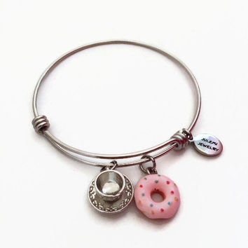 Coffee & Donut Expandable Bangle Donut Expandable Bracelet Donut Expandable Bangle Stacking Bracelet Adjustable Bracelet Wire Bangle