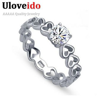 50% off Finger Ring Heart Love Vintage Silver Fianit Wedding Rings for Women Charms Jewelry Valentine's Day Gifts Uloveido J391