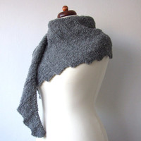 knit alpaca scarf, funky shawl, winter triangle shawl, soft scarf - made to order