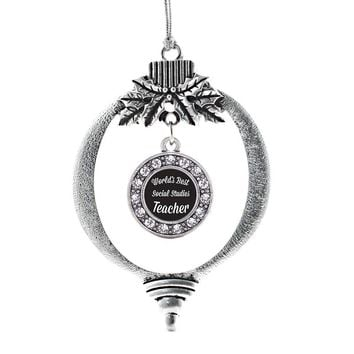 World's Best Social Studies Teacher Circle Charm Holiday Ornament