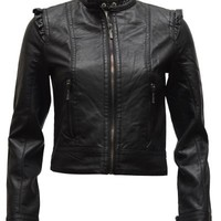 Clothes Effect Ladies Black Synthetic Leather Biker Jacket 2 Button Neck