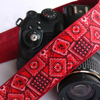 Red Camera Strap. dSLR Camera Strap. Geometric Camera Strap. Canon Camera Strap. Nikon Camera Strap.