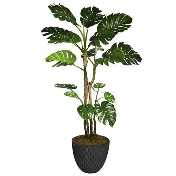 """77.6"""" Artificial Monstera with Burlap Kit in 13.6"""" Black Decorative Honeycomb Planter"""