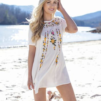 Phoenix Embroidered Dress, Off White
