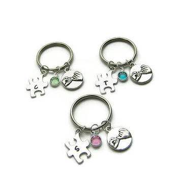 3 Hand Stamped Puzzle Piece Pinky Promise Swarovski Charm Keychains, Best Friends Keychains, BFF Keychains, Sisters Keychains, Personalized