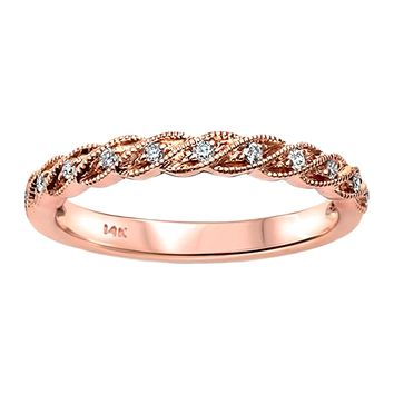 0.09ct Round Diamonds in 14K Gold Twisted Milgrain Band Ring