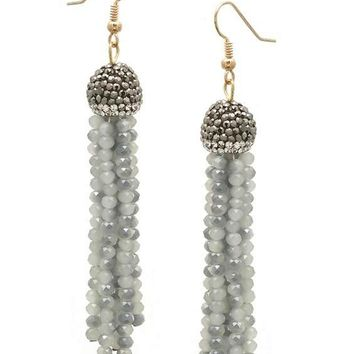 Stone Pave Cap Crystal Tassel Earring, Grey