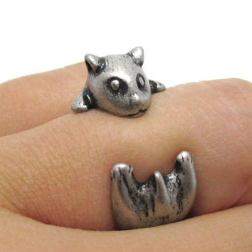 Baby Hamster Guinea Pig Gerbil Shaped Animal Wrap Ring in Silver | US Sizes 3 to 6.5