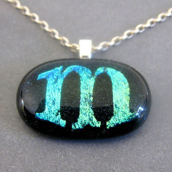 Initial M Dichroic Fused Glass Necklace Initial by mysassyglass
