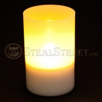 4 3/8 Inch Solar Charged LED Candle Light with Plastic Cup Enhancer