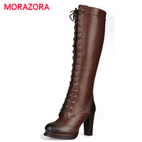 MORAZORA 2017 New winter fashion lace up real genuine leather boots Black brown high heel Thick Heels women's knee high boots