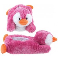 Adult & Children Kid Size Pink Penguin Animal Plush Fuzzy Slippers