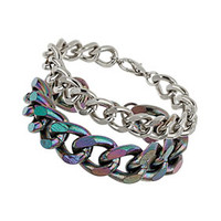 Iridescent Mixed Multi Chain Bracelet