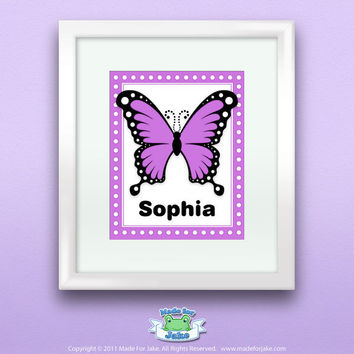 Personalized Purple Swallowtail Butterfly Print, Customize with Name, Wall Art Decor for Nursery or Kids Room, 8x10