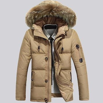 AFS JEEP Mens Winter Down Jackets Coat With Hat Detachable for Winter Warm Hooded Fur Collar Down Outwear Coat 145