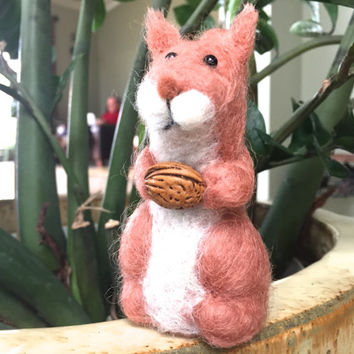 squirrel animal gift brown home decor woodland animal needle felted squirrel needle felt squirrel needle felted animal needle felt wool OOAK