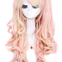 MapofBeauty Multi-color Lolita Long Curly Clip on Ponytails Cosplay Wig (Blonde/ Pink)