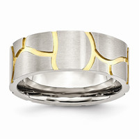 Men's Stainless Steel Grooved Yellow IP-plated Brushed Wedding Band Ring: RingSize: 13