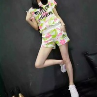 """Adidas"" Women Casual Fashion Leaf Flower Print Short Sleeve Shorts Set Two-Piece Sportswear"