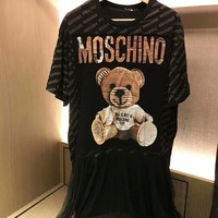 Moschino Cute Bear Net yarn Splicing Black Tee Dress