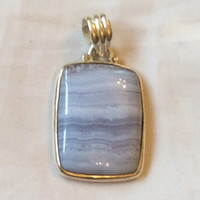 NEW YEAR SALE, Blue Banded Agate Pendant, Sterling Silver, Vintage Jewelry, Gift for Her