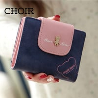 Lovely Bear Wallet Female Leather Small Change Clasp Purse Money Coin Card Holder Carteras Girl wallets Portfolio
