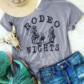Rodeo Nights Women Funny Cowboy T-Shirt