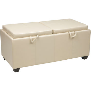 OSP Metro Storage Ottoman with Dual Trays & Cushions, Cream Faux Leather
