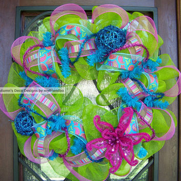 Paisley Deco Mesh Wreath for Spring & Summer in by myfriendbo
