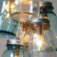 Mason Jar Chandelier Mason Jar Light Modern by BootsNGus on Etsy