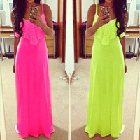 Lady Long Maxi Summer Beach Party Backless Sundress Womens Sexy Casual Dress Hot = 1932705924