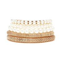 Faux Pearl Stretch Bracelet Set | Forever 21 - 1000202341