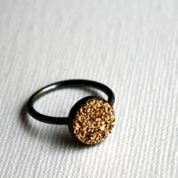 Yellow Gold Drusy Ring in Oxidized Sterling Silver- Handmade Simple Ring