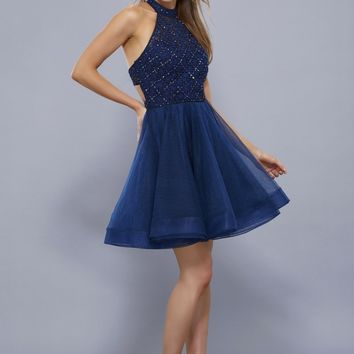 Fit and Flare Dress with Beaded Bodice