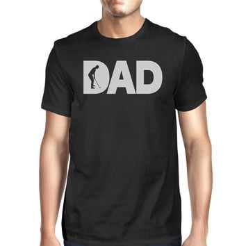 Dad Golf Mens Black Round Neck Tee Funny Gifts For Golf Lover Dads