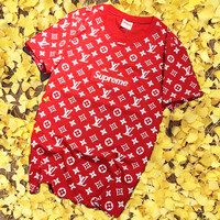 LV With Supreme Flower Embroider Monogram Short Sleeve Tee Top Shirt Red